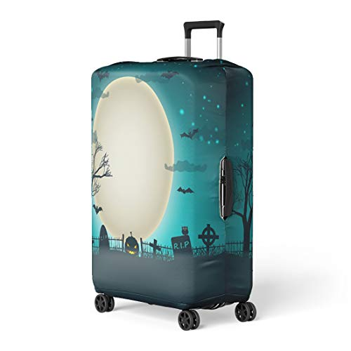 Pinbeam Luggage Cover Halloween Party Moon Ball in Night Sky Travel Suitcase Cover Protector Baggage Case Fits 18-22 -