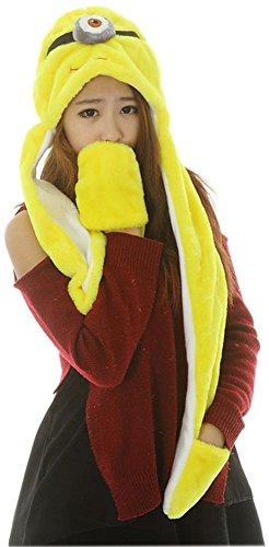Fun Fluffy Scarf (Bettyhome Novelty Animal HAT Cosplay CAP - Unisex Fit Adult & Children- Soft Warm Headwraps Headwear with Mittens (one eye minion))