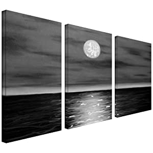 Amazon.com: Art Wall 3-Piece Moon Rising Gallery Wrapped