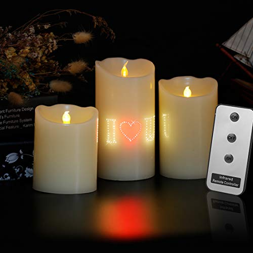Flameless Candle Set I LOVE U Pattern Ivory Real Wax Pillar LED Candle Electric Unscented Candles Battery Operated with Remote Control for Celebration/Birthday/Christmas