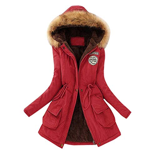 Price comparison product image HGWXX7 Women's Winter Warm Long Coat Faux Fur Collar Slim Hooded Jacket Parkas Outwear(Red, S)
