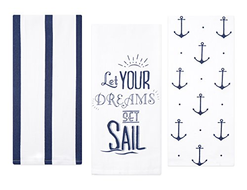 Sticky Toffee Cotton Flour Sack Kitchen Towels, Anchor and Stripe Nautical Prints, 3 Pack, 28 in x 29 in by Sticky Toffee