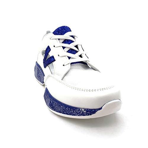 Glitter Aperto Moda Angkorly Piatto Blu Donna 2 Scarpe Tacco Cm Tennis Sneaker YWcH5AfnrW