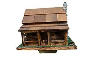 Amazon Com Birdhouse Log Cabin Bird House W Rock