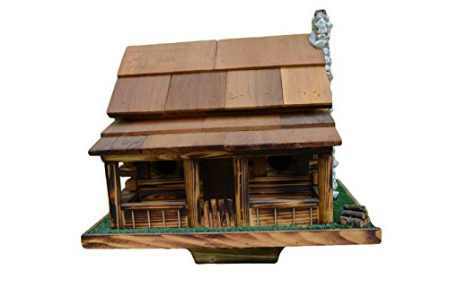 Birdhouse - Log Cabin Bird House w/ Rock Chimney. To for sale  Delivered anywhere in USA