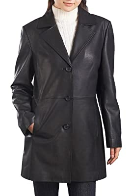 "BGSD Women's ""Danielle"" Missy & Plus Size New Zealand Lambskin Leather Walking Coat"