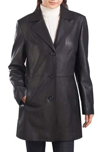 - BGSD Women's Danielle New Zealand Lambskin Leather Walking Coat - Plus 1X Short Black