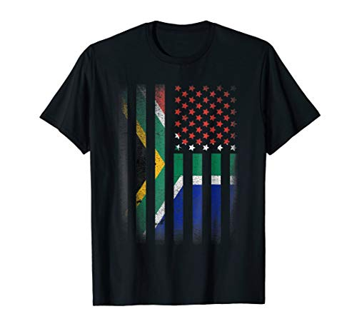 South African American Flag T-shirt South Africa Usa America by South African American Pride .