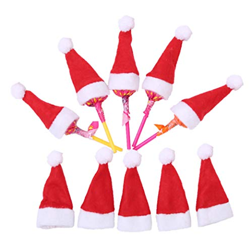 20 Pack Mini Christmas Hat Lollipop Holder Cute Christmas Stockings Stuffer Idea Xmas Goody Gift Goodie Christmas Treats Christmas Party Favor Christmas Decorations By 7 Colors Kids (Xmas Kids Ideas Party For)