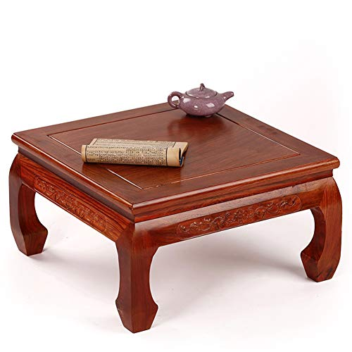 (YANGLAN Solid Wood Tatami Small Coffee Table, Rosewood Square Square Window Table, Chinese Antique Low Table Tea Table, Mahogany Furniture 29×31.5×18.5cm )