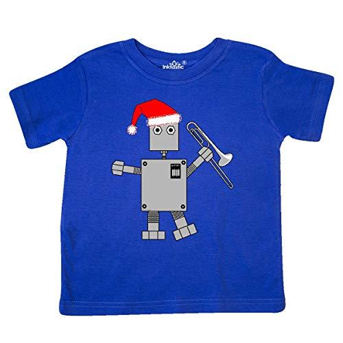 Royal Blue Santa Hats (inktastic Trombone Santa Hat Robot Toddler T-Shirt 4T Royal)