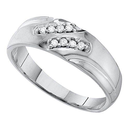 10kt White Gold Mens Round Diamond Wedding Band Ring 1/8 Cttw by Saris and Things