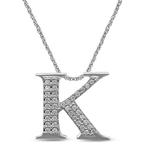 Diamond Jewel 10K White Gold 1/10 cttw Diamond Initial Letter 'K' Pendant Necklace
