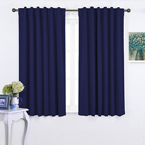Nicetown Blackout Room Darkening Curtains / Drapes - Navy Blue 2 Panels Set 52 inch wide by 63 inch long each panel, 7 Back Loops per Panel - Back Tab / Rod Pocket