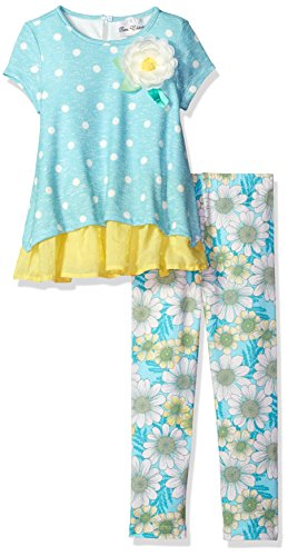 Turquoise Polka Dot Ruffle - Rare Editions Girls' Little Polka Dot Knit Top to Flora Legging Set, Turquoise/White/Yellow, 6X