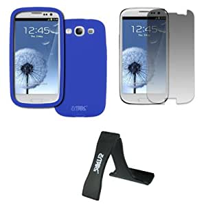 EMPIRE Samsung Galaxy S III / S3 Silicone Skin Case Cover (Blue) + Mini Folding Stand + Invisible Screen Protector [EMPIRE Packaging]