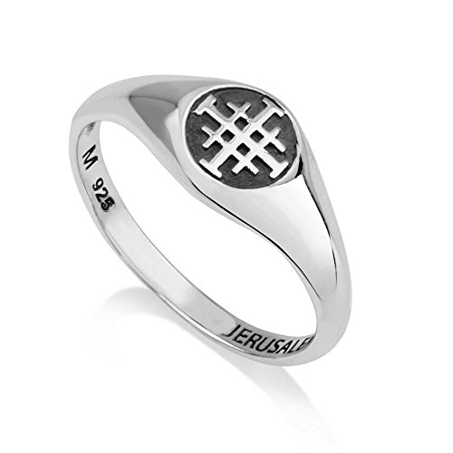 Marina Jewelry 925 Sterling Silver and Enamel Ring, Womens or Mens, Embossed Jerusalem Cross, Size 7.5 by Marina Jewelry