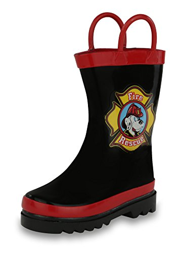 [Boy's Black Fire Dog Rain Boots (Toddler/Little Kid) (7 M US Toddler )] (Next Kids Boots)