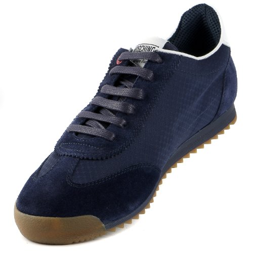Moschino 56060 Velour / Nylon Mote Sneaker Sko - Mens Blå Bianco