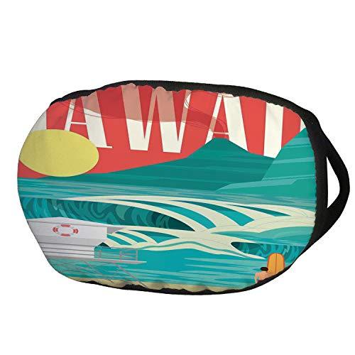 Fashion Cotton Antidust Face Mouth Mask,Hawaiian Decorations,Hawaii Sandy Coastline Sunny Day Surfboard Tropics Famous Honeymoon Destination,Sand Teal,for women & -