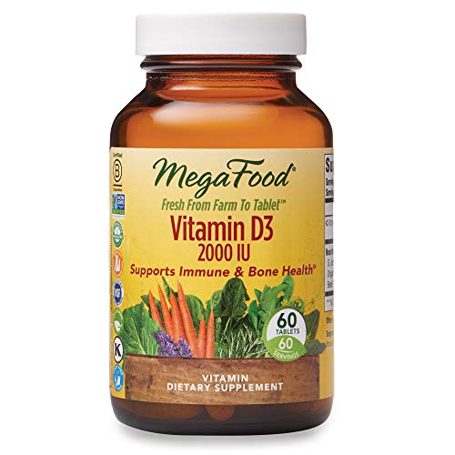 MegaFood, Vitamin D3 2000 IU, Immune and Bone Health Support, Vitamin and Dietary Supplement, Gluten Free, Vegetarian, 60 Tablets (60 Servings) (FFP) from MegaFood