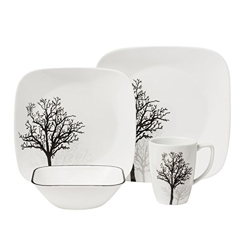 Corelle Square 16-Piece Dinnerware Set, Timber Shadows, Service for - Plates Stoneware Corelle