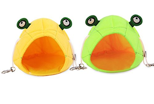 Fully 2 Colors Hamster Sleeping Bag 5.9x5.9x7.87 Frog Design Cave Mat Cozy Warm House Hanging Hammock Warming Sack for Chinchilla
