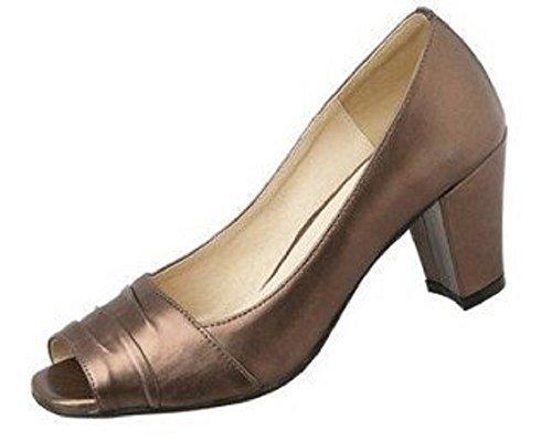 Andrea Mujer cuero Peeptoe de Conti sintético de marrón Marrón marrón Sandalias Vestir 7xw7rHq84