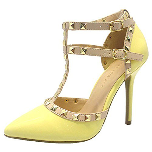 Wild Diva Womens Pointy Toe Gold Stud Strappy Ankle T-Strap Stiletto Heel Pump Sandal,8 B(M) US, Light Yellow Patent (Yellow Pointy Toe Pumps)