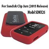 Silicone Skin Case Cover For SanDisk Clip Jam MP3 Player 2015 Release (Model SDMX26), Red/Orange