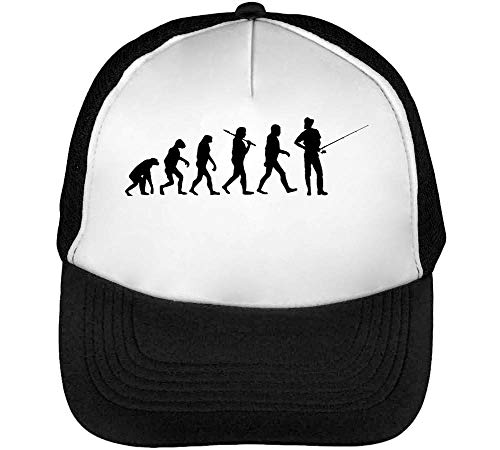 Evolution Fishing Angeln Gorras Hombre Snapback Beisbol Negro Blanco