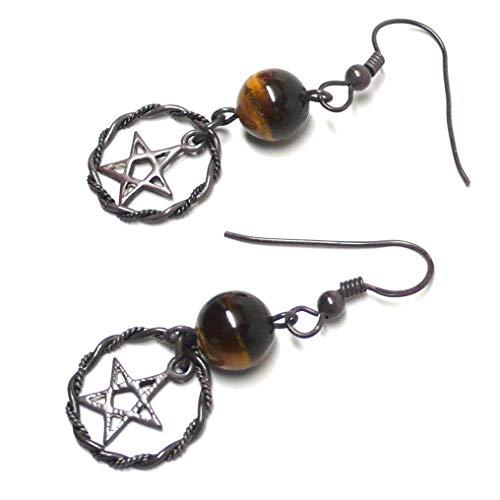 (Oxidized Sterling Silver Pentagram Earrings Tigers Eye )