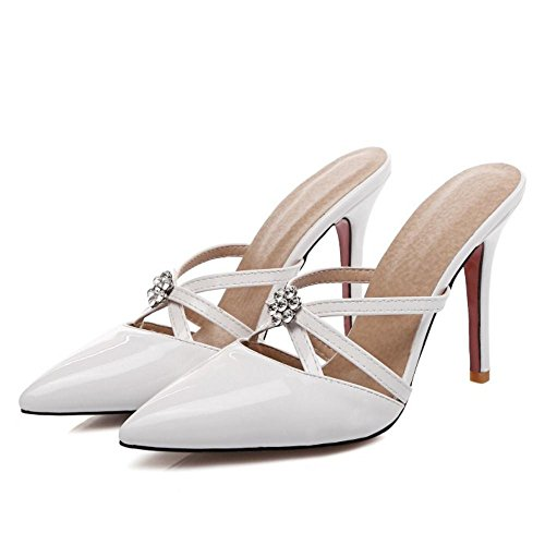 Sandales Talon Mode Strass Femme Mules Coolcept Aiguille White HaqYYR