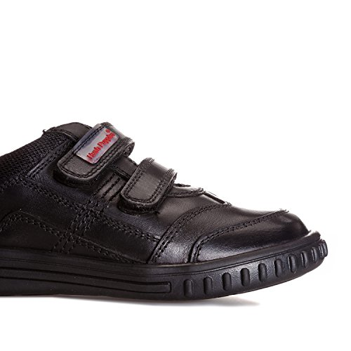 Hush Puppies Boys Lionfish Black Leather Adjustable Double Strap School Shoes -UK 7.5 (EU 25)