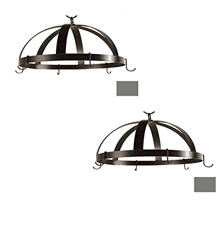20-in x 20-in Gun Metal Dome Pot Rack - Grace Collection Model - GMC-DPR-20-GM - Set of 2 Gift Bundle by Grace Collection