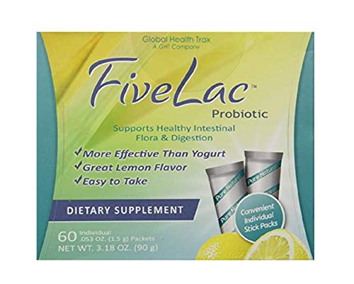 FiveLac Probiotic Lemon Flavor Dietary Supplement (4 Box) 60 Packets by GHT Support Your Daily Health and Wellness Needs