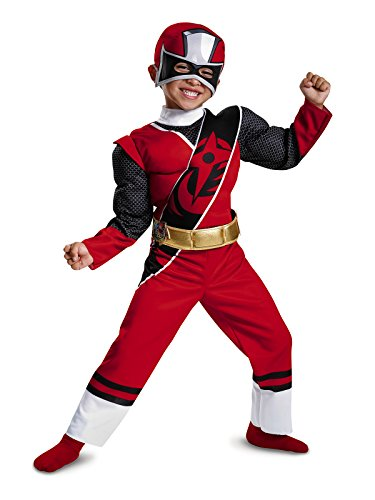 Power Rangers Ninja Steel Toddler Muscle Costume, Red, Small (2T) -