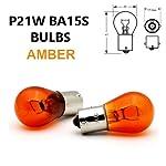 2x P21W BA15s 382 12v Amber/Orange Indicator Light Car Bulbs (Opposite Pins)