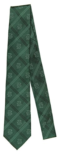 Men's 100% Silk Green Harry Potter Slytherin Plaid Tie Necktie (Slytherin Symbol)