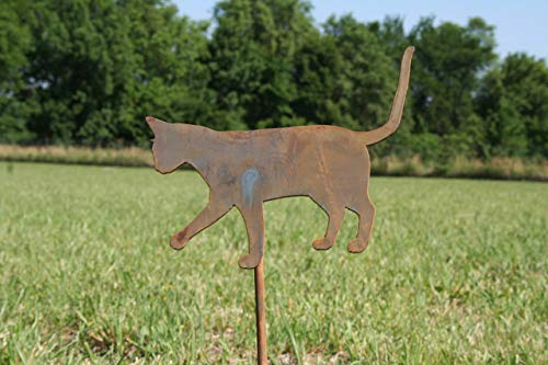 Rustic Metal Cat Garden Stake, 20 Inches Tall