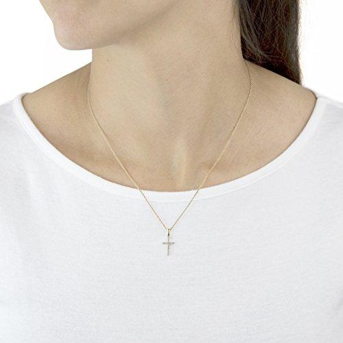 Pavé Privé Chaîne Femme Or jaune 14carats Diamant rond blanc pendentif croix collier de 44,5cm