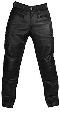 Mens Sexy Real Black Leather Motorcycle Bikers Pants Jeans Trousers- L_J3 W36 X L33
