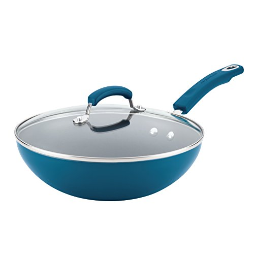 Rachael Ray Classic Brights Aluminum Nonstick Stir Fry Pan with Glass Lid, 11-Inch, Marine Blue Gradient Hard Enamel