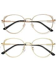 Blauw Licht Blokkeren Bril Vrouwen Cat Eye Computer Brillen Metalen Frame Hipster 2 Pack AR007