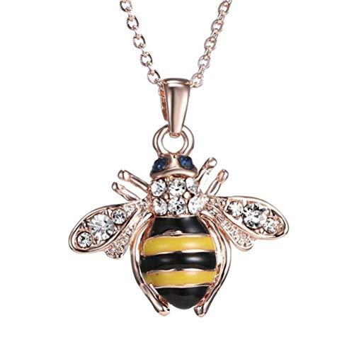 - Figaro Design Elegent Crystal Yellow Little Bee Colored Glaze Drip Honey Bee Little Bumblebee Pendant Necklace