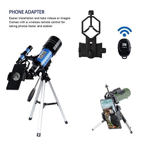 ESAKO Telescopio para ni/ños y Principiantes Telescopios astron/ómicos port/átiles de 70 mm con Soporte para tel/éfono monocular y Control Remoto