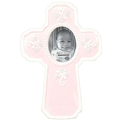 (Malden International Designs Glazed Ceramic In a Cross Picture Frame, 2x2, Pink)