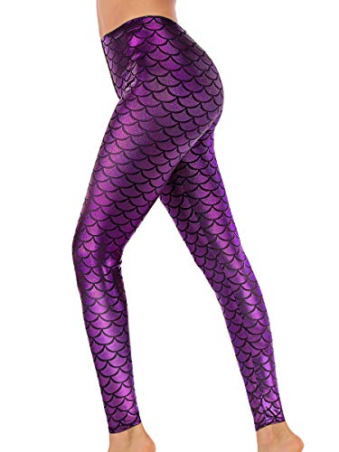 Alaroo Women Full Length Mermaid Print Fish Scale Leggings Purple L -