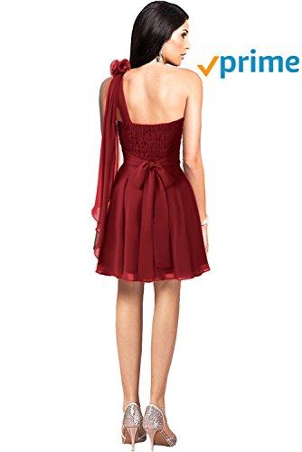 Modern Empire Chiffon Brautjungfernkleid Rot Gorgeous Bride Partykleid Knielang Traeger Ein Cocktailkleid T56OqU