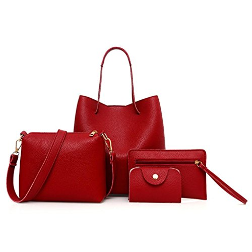 BCDshop Women Faux Leather Handbag+Crossbody Bag+Messenger Bag+Card Purse Wallet -4Pcs (Red) by BCDshop Shoulder Bag